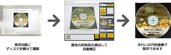 専用台紙にディスクを載せて撮影、黒色の四角形を検出して自動補正、きれいな円形画像で保存できます