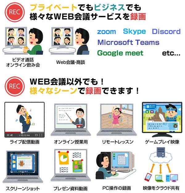 プライベートでもビジネスでも様々なWEB会議サービスを録画。WEB会議以外でも様々なシーンを録画できます。